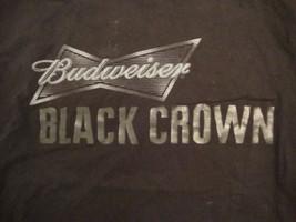 Budweiser Black Crown Beer Drinker College Party Drinking Black T Shirt L - $14.60