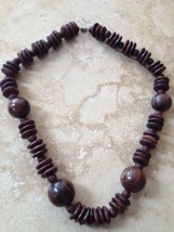 Brown Wooden Round Beaded Necklace - $19.99