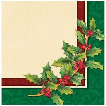 Festive Greenery Holly 16 Luncheon Napkins Christmas Party - $3.32