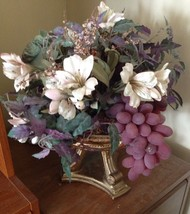 Beautifully Lush Floral Arrangement With Gold Toned Stand - $48.99