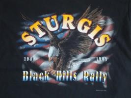 Vintage American Motorcycle Biker Black Hills Rally Race T Shirt L - $22.76