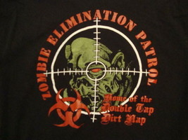 "Zombie Elimination Patrol ""Home of the Double Tap Dirt Nap"" Gun Scope T Shirt L - $15.83"
