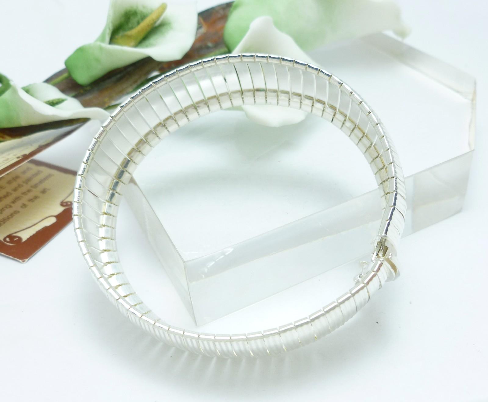 Sterling Diamond Cut Flexible Bangle Bracelet Average Wrist Size 7.25 inch