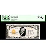 US FR 2400 $10 GOLD CERTIFICATE 1928 PCGS 63PPQ HAMILTON - $895.00