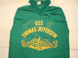 Vintage Navy USS Thomas Jefferson Boat Submarine V-Neck Netted Jersey T ... - $29.69