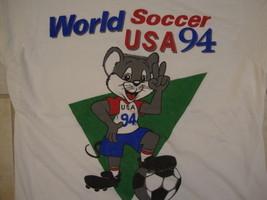 Vintage 90's World Soccer Futbol USA 1994 Cute Mouse Fun Silly Sports T Shirt M - $29.69