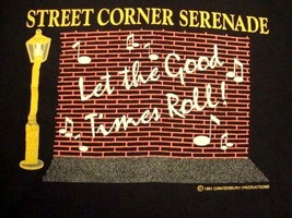 Vintage Street Corner Serenade Singing Music Hipster Acoustic T Shirt XL - $17.81