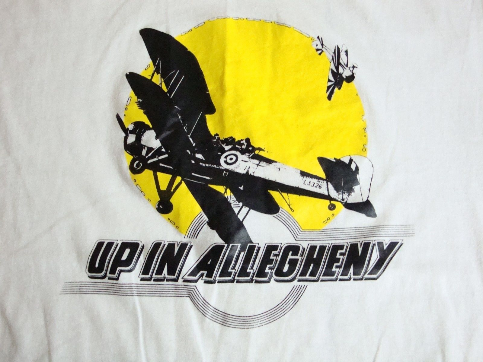 Vintage Up in Allegheny Crop Dusters Airplane Pilot  Ringer Thin T Shirt L - $25.73