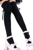 SODIAL(R) Women's Fashion Over The Knee Socks Thigh High Stocking Black - $3.43