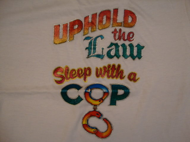 Primary image for Vintage Uphold The Law Sleep With A Cop funny police Glitter Iron On T Shirt M