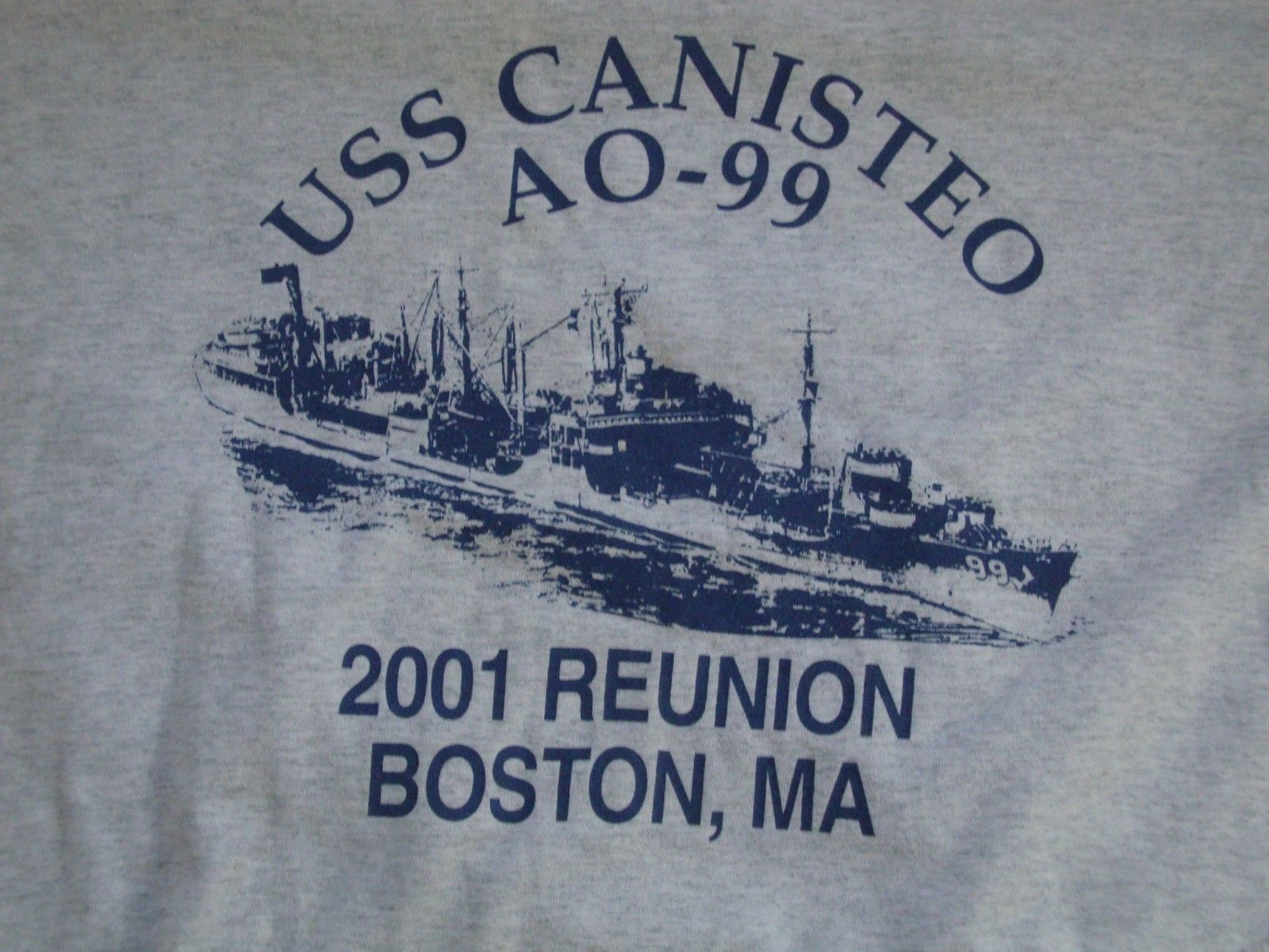 Primary image for USS Canisteo AO-99 Navy 2001 Reunion Boston, MA Grey T Shirt Men's Size XL