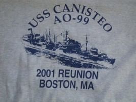 USS Canisteo AO-99 Navy 2001 Reunion Boston, MA Grey T Shirt Men's Size XL - $16.82