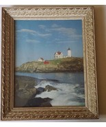 "Seashore Lighthouse Framed Picture Wall Hanging Nautical 12"" x 10"" - $35.82"
