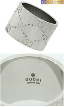 Ladies Authentic Gucci Designer Italian 18K White Gold Engraved Band Ring  - $864.68