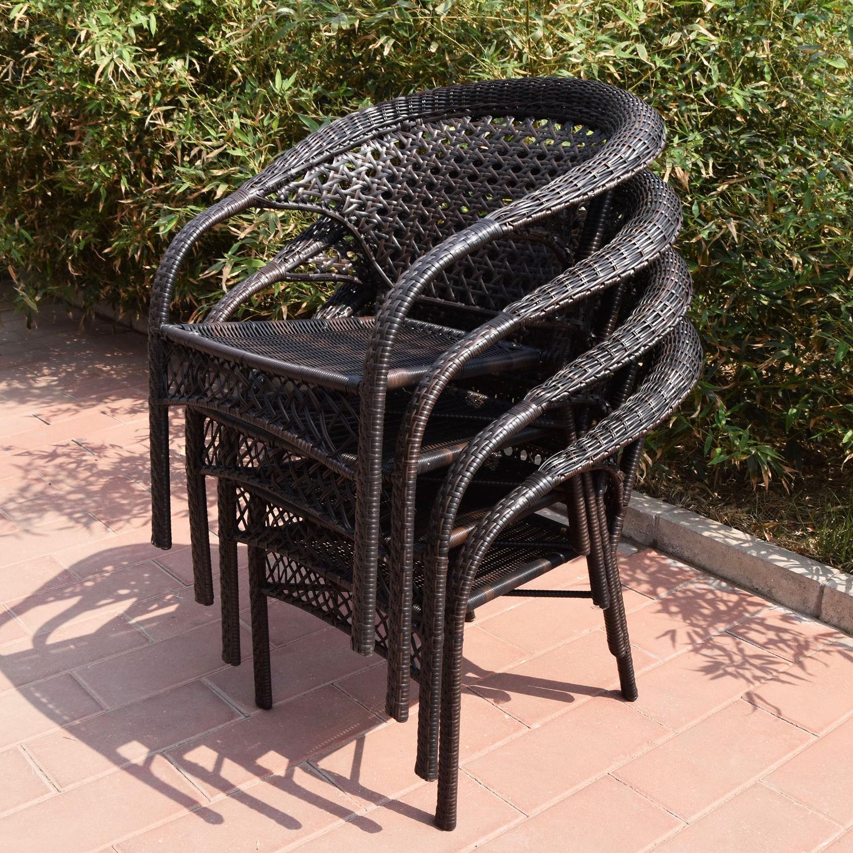 Adeco Brown Wicker Patio Furniture Dinning set Dinning Chair ly Hammocks