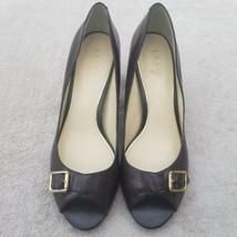 Lauren Ralph Lauren Womens Brown Leather High Heels Open Toe Pumps Sz 9B... - $26.58