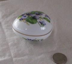 1980 Limited Edition Danbury Mint Porcelain EGG Trinket Box VIOLETS Japa... - $20.19