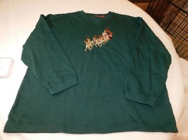 Men's Rudolph UGLY Christmas Sweat Shirt XL Dark Green Reindeer Santa Sl... - $18.70