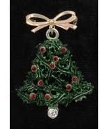 Vintage Christmas Bell Clanger Brooch Pin Restored with Swarovski Rhines... - $9.89