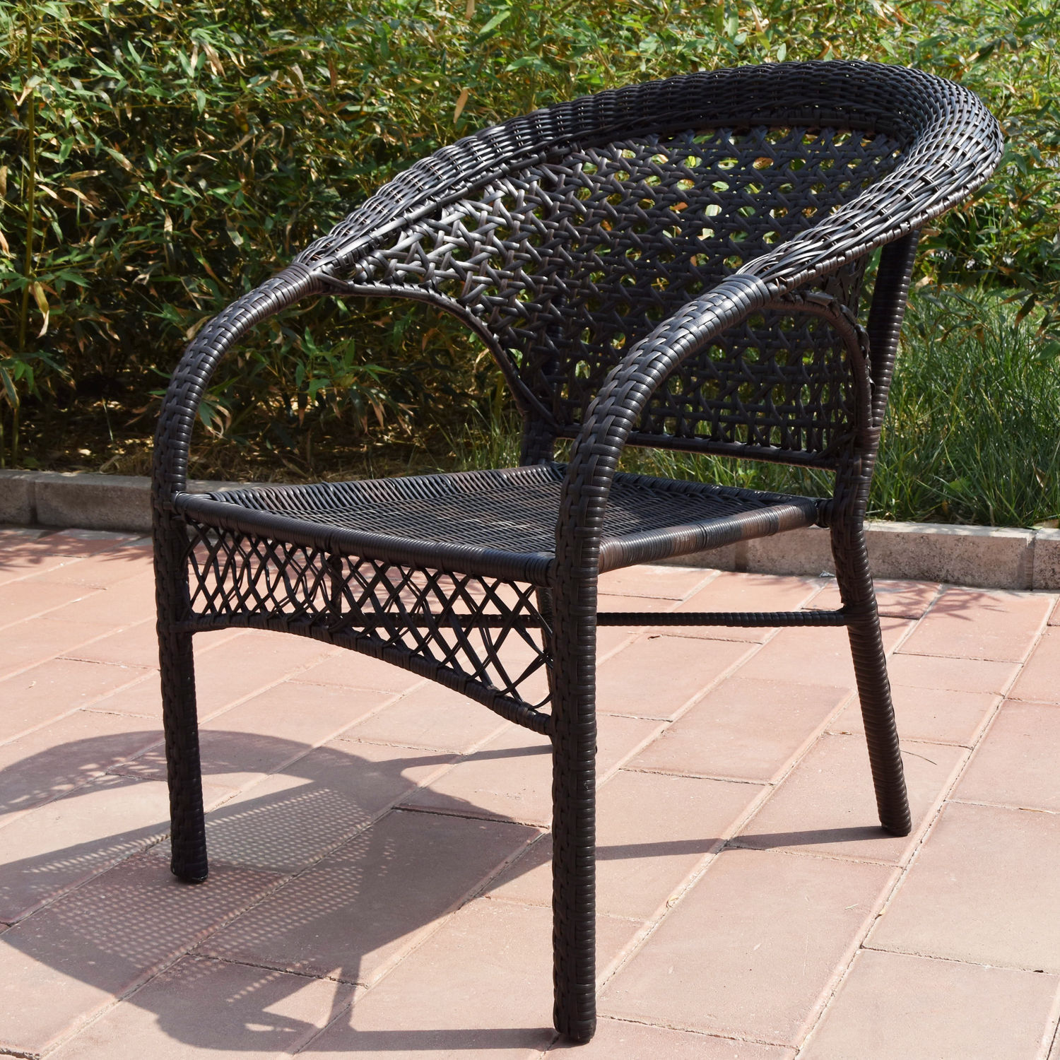 Adeco Brown Wicker Patio Furniture Dinning Set Dinning Chair Only Hammocks