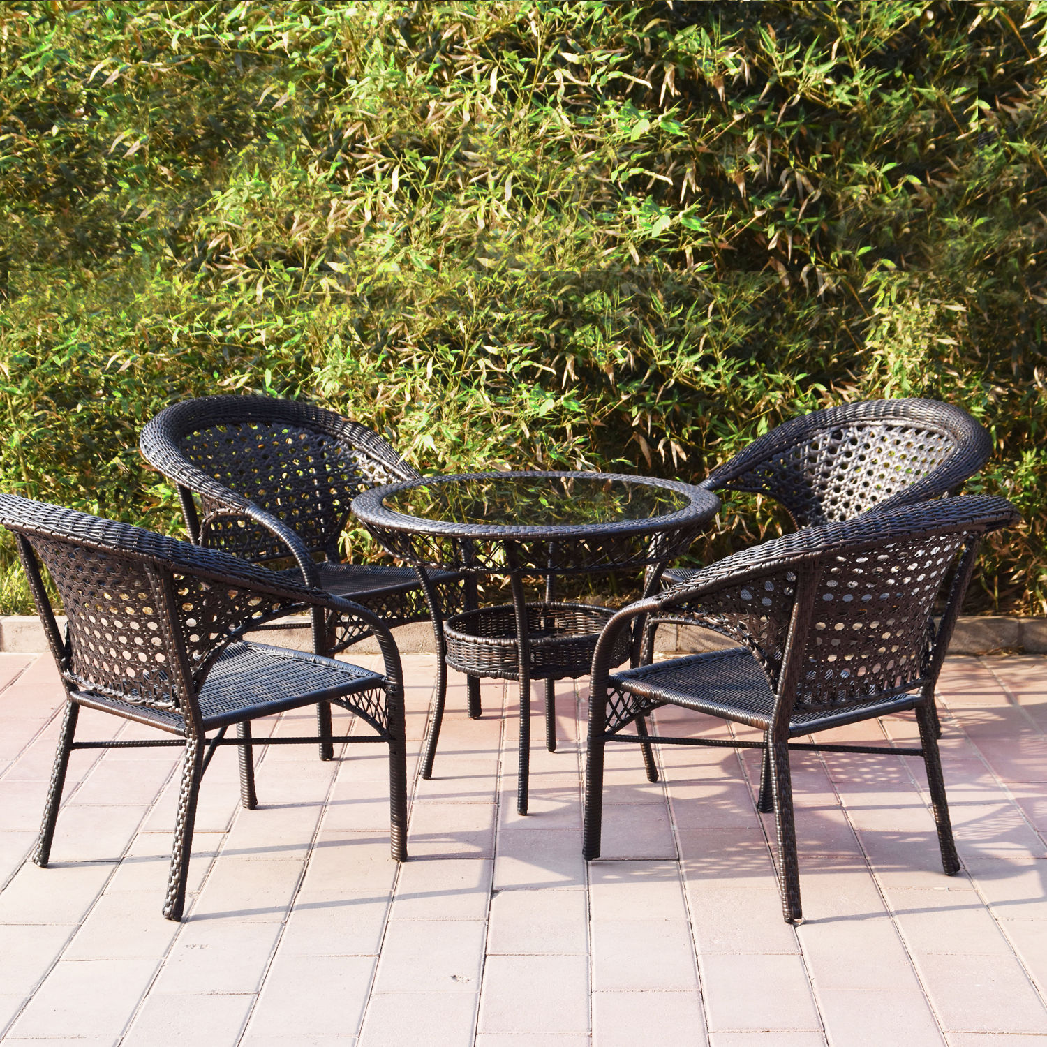 Adeco Brown Wicker Patio Furniture Dinning set Dinning Chair ly Hammocks