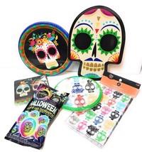 Dia De Los Muertos Party Pack Day Of The Dead Sugar Skulls Plates Balloo... - £22.60 GBP