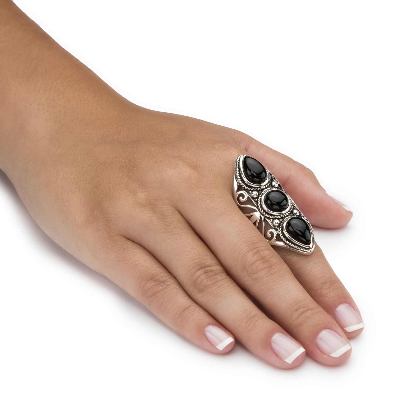 Simulated Black Onyx Antiqued .925 Silver Boho Scroll Ring