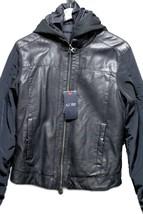 New Armani Jeans Men AJ Navy Dark Blue Faux Leather Coat Zipper Jacket B... - $225.39