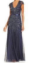 Adrianna Papell New Navy Embellished V-Neck Cap Sleeve Mesh Gown   4    ... - $210.00