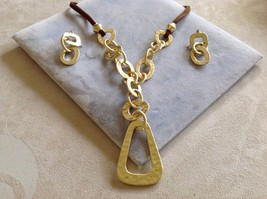 New Allure Gold Toned Link Necklace and Earring Combo Set