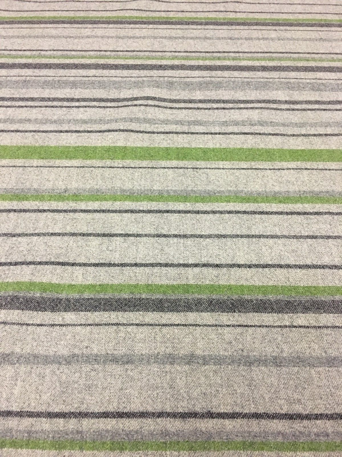 8.25 yds Wool Upholstery Fabric Green and Gray Stripe BB
