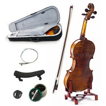 NEW Solid Wood Intermediate Plus 4/4 Violin VN302 w Case Bow Rosin String - $140.24