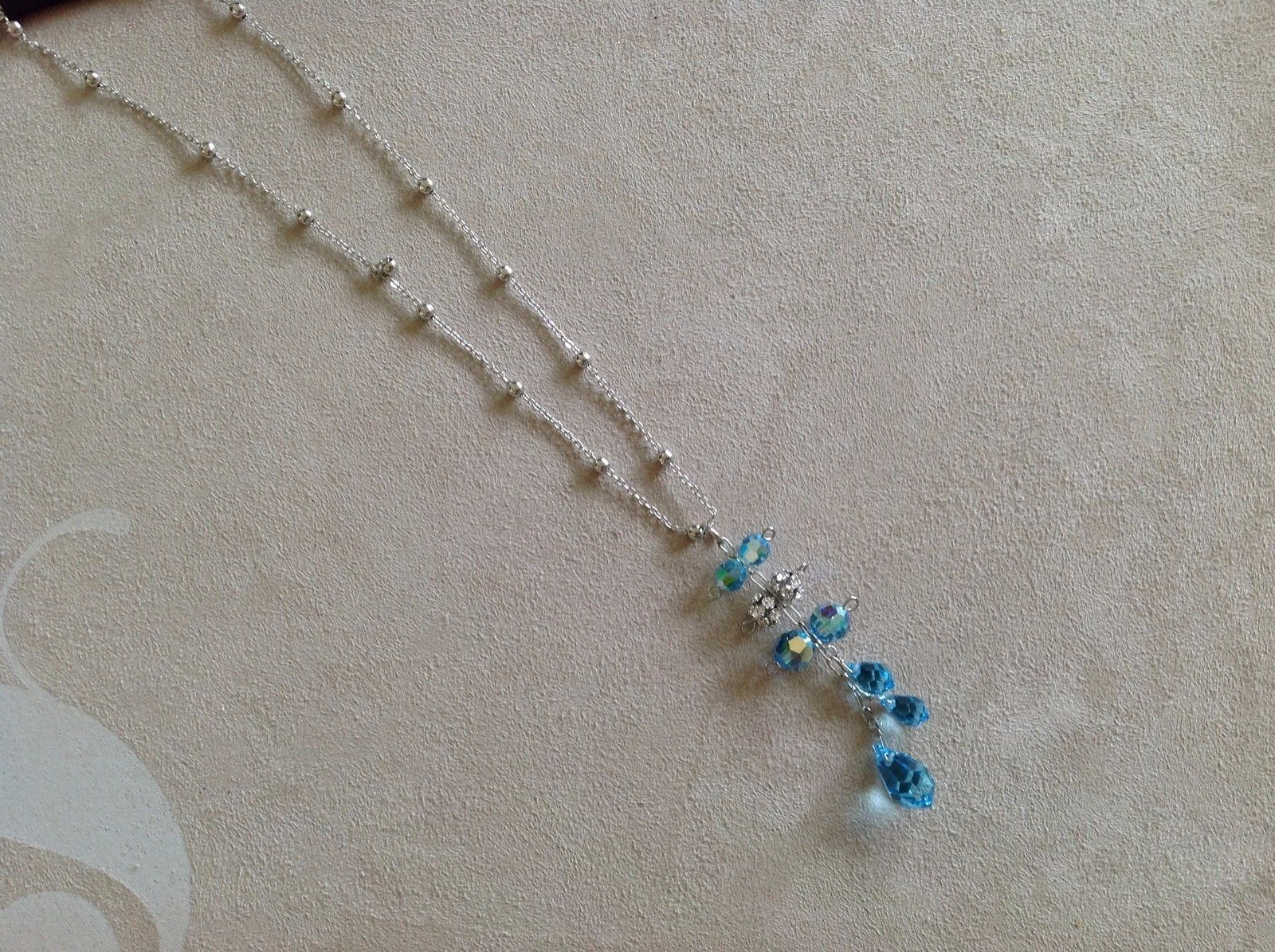 New Allure Blue Crystal Necklace Silver Toned