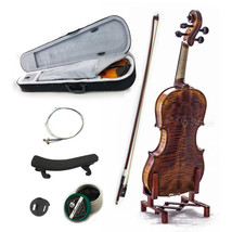 NEW 1/4 Violin High Flame Solid Wood Satin VN303 w Case Bow Rosin String - $186.99