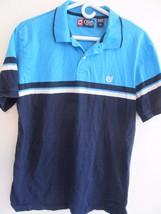 Chaps Blue White Accent Short Sleeve Polo Shirt! Sz M! 100% Cotton - $8.74