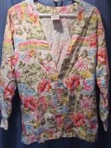 SCRUBS Pink Blue GreenTropical Floral L/S Uniform Scrub Lab Jacket Top! ... - $13.50