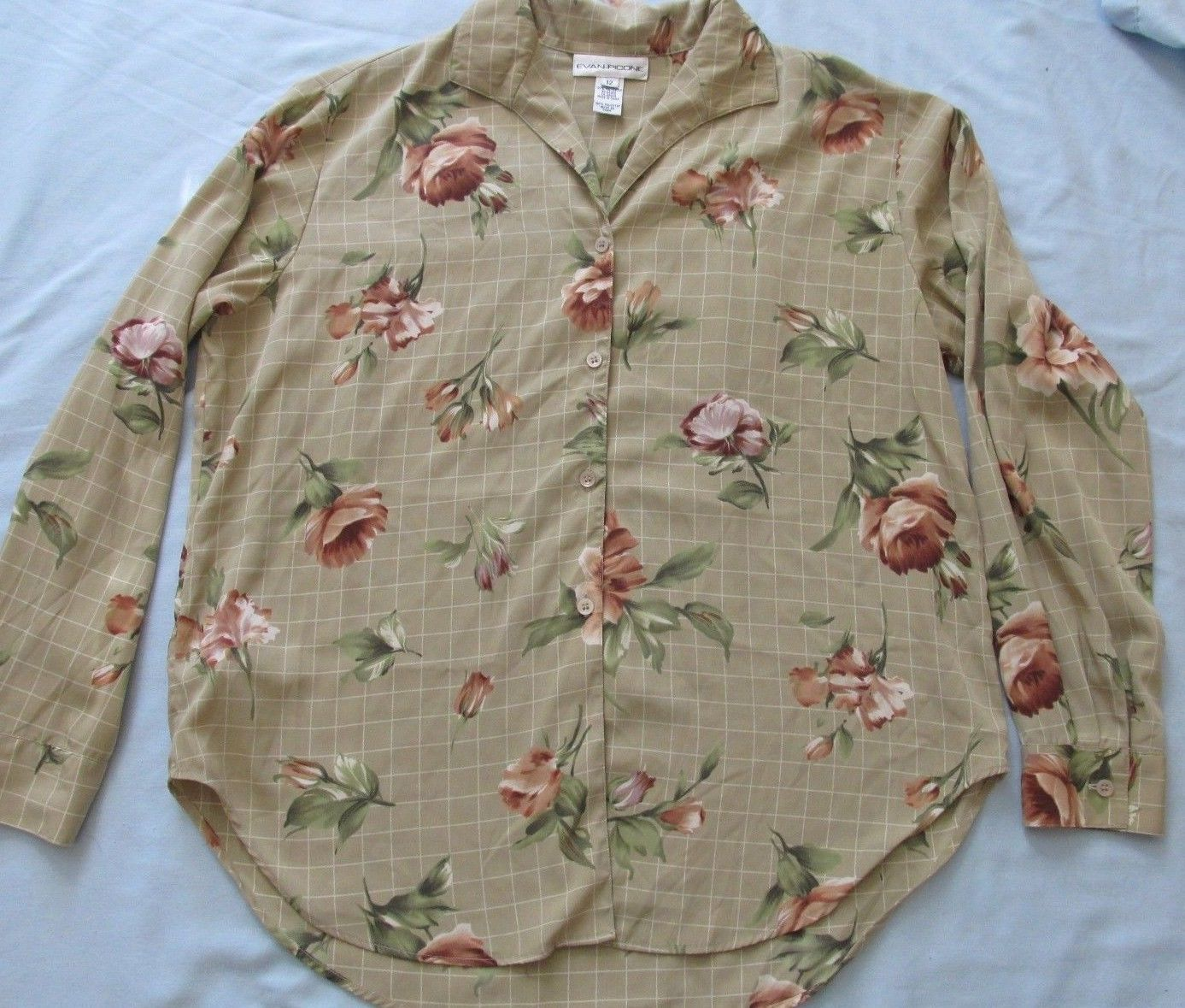 Evan Picone Multi Color Floral Check Design L/S Button Front Blouse Top! Sz 12!
