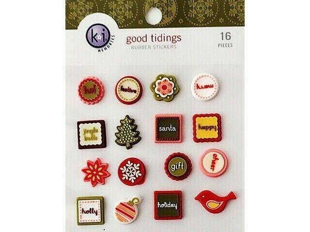 "Ki Memories ""Good Tidings"" Rubber Stickers, 16 Pieces #3156"