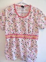 Cherokee Studio Scrub Top S/S Pink & Multi Color Design! Cute! - $12.55