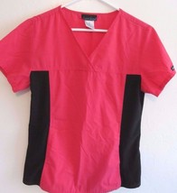 Cherokee Hot Pink & Black Color Scrub S/S Top! Size Small! Polyester Blend - $15.43