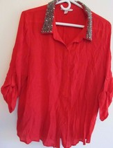 Maria Gabrielle Red w/ Metal Bead Accents! 3/4 Sleeve Button Down Top! Sz 2XL! - $6.42