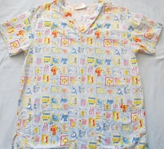 Working Scrubs Uniforms Pediatric V Neck Top Purple w/ Fun Fish Pattern! Sz S! - $6.42
