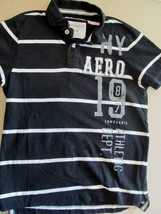 Aeropostale Black White Stripe S/S Polo Shirt! Sz M! 100% Cotton! Nice!  - $5.94