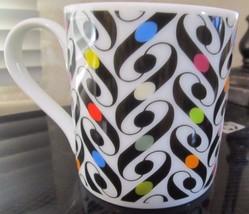 Paperchase Fine Porcelain Retro Graphics Black White Red Pink Orange Coffee Mug! - $7.37