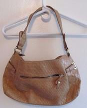 EUC Jessica Simpson Crocodile Stamped Tan Faux Leather Shoulder Purse Handbag! - $15.43