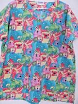 Landau Art Works Scrub Uniform V Neck Top! Zoo Animal Cartoon Design Sz M! USA! - £11.22 GBP