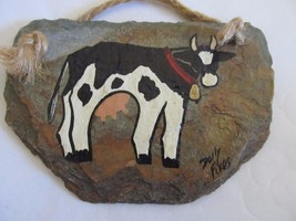 Folk Art Holstein B/W Cow Painted on Slate w/ Rope Hanger! Signed Dolly ... - $9.74