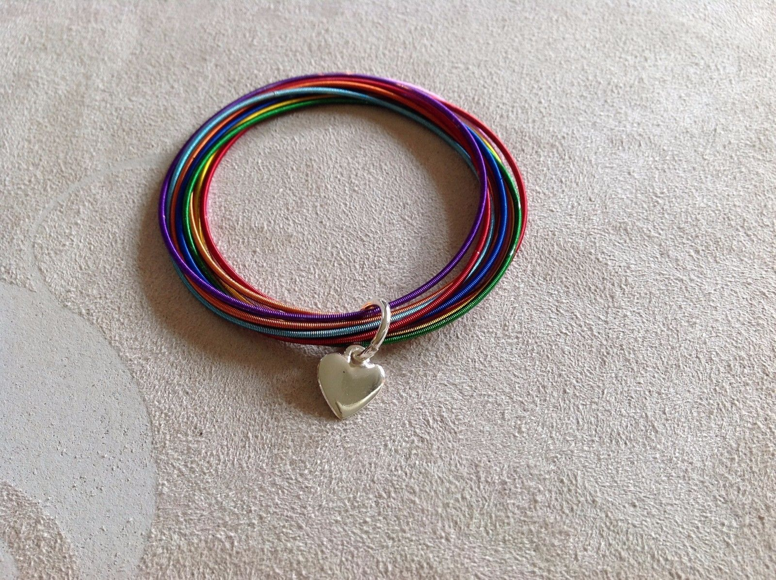 New Allure Rainbow Bracelet With Silver Toned Heart Pendant