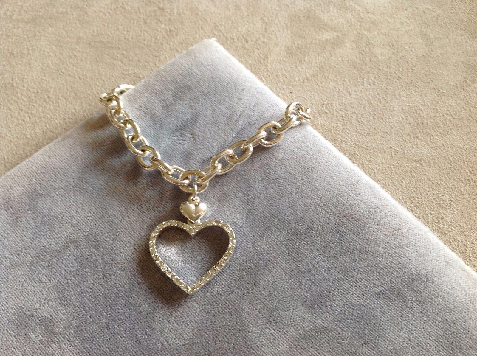 New Allure Studded Heart Charm Bracelet Silver Toned
