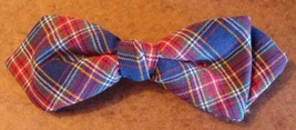 Vintage Ormond NYC Patterned Plaid Clip On Bow Tie